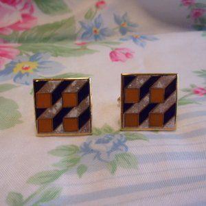 Vintage Enameled Patchwork Gold Tone Cuff Links
